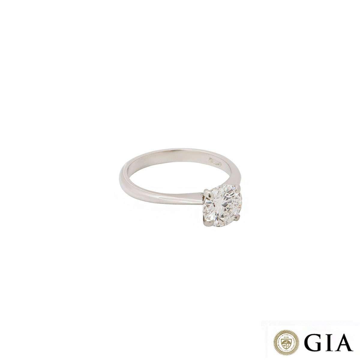 Platinum Round Brilliant Cut Diamond Ring 1.23ct F/SI1
